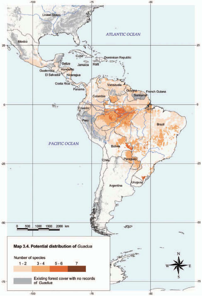 Guadua Distribution Map