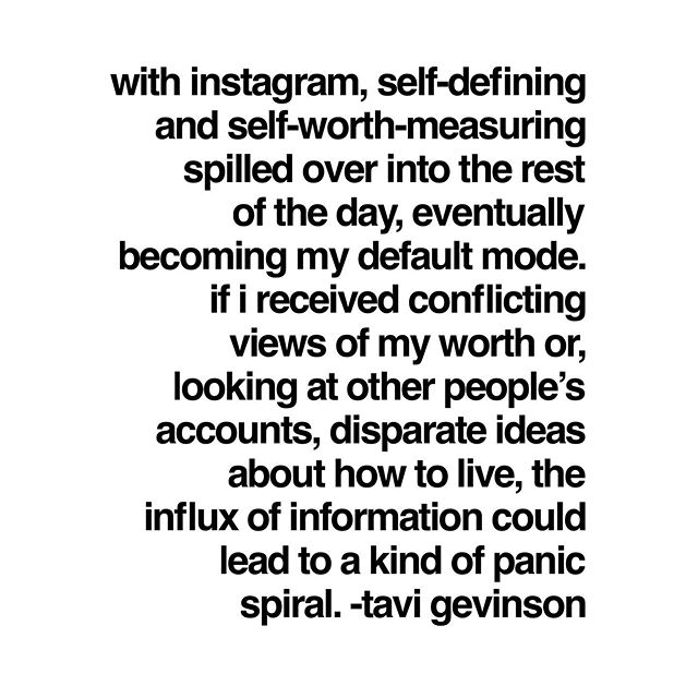 """I highly recommend reading @tavitulle's piece in @thecut. She probably won't see this post because her new Instagram """"system"""" doesn't allow for her to go down into the black hole that is @instagram. She is the second influencer this week who has shared that they no longer scroll through posts and comments because it's all too much. For me, I've never been obsessed with Instagram. It's a casual pastime with which I have a healthy relationship. I can take it or leave it, and if I post something and it doesn't perform, I don't care. But, if you don't and you're someone who sees your self-worth as tied up in the number of followers, likes, and comments, I think it's time for some IRL self-care. Make sure to swipe to read both of Tavi's quotes."""