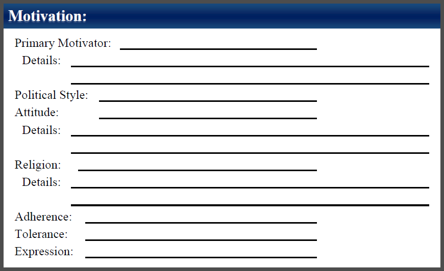 These options may be recorded in the Motivation section located on the back side of the character sheet.