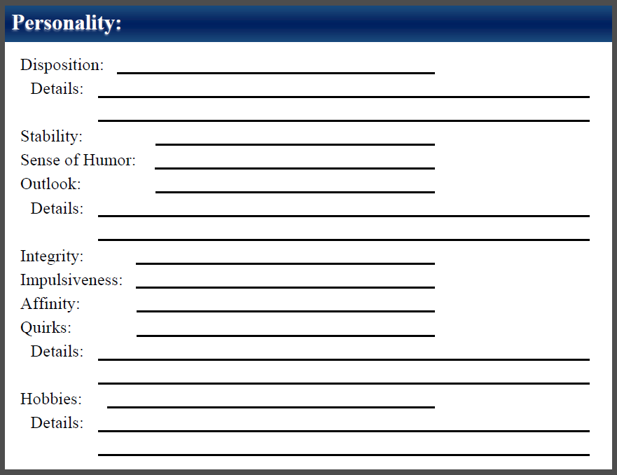 These options are recorded in the Personality section located on the back side of the character sheet.
