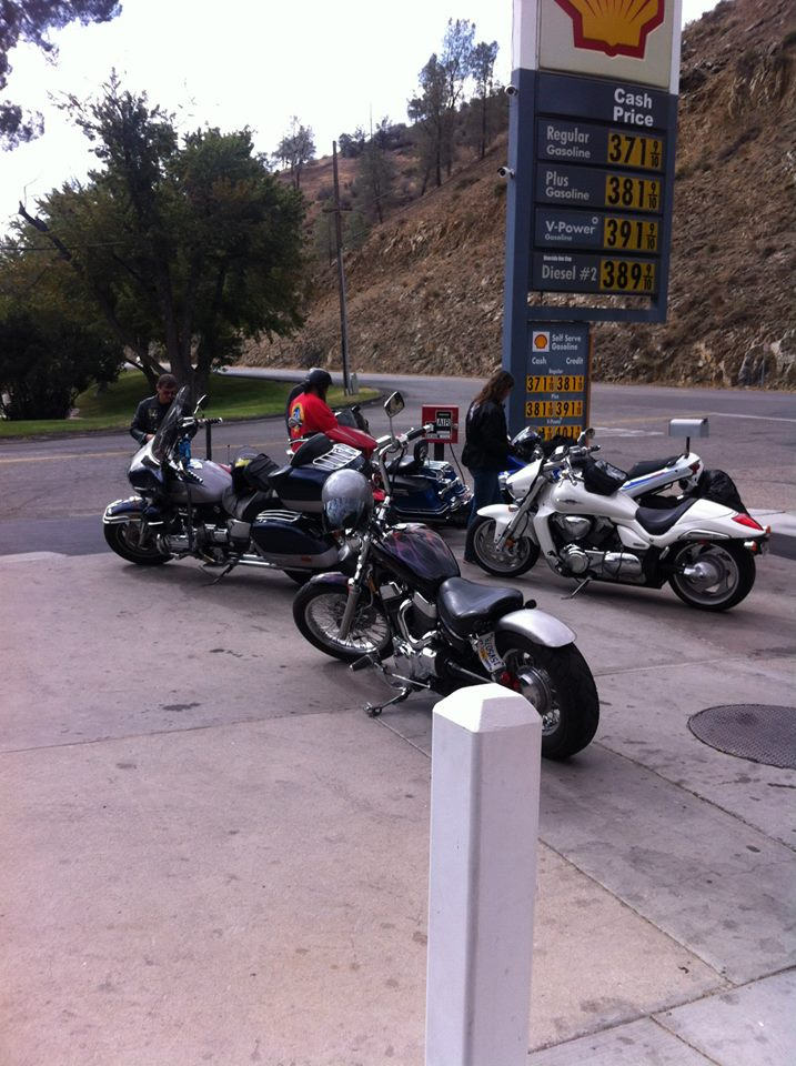 A little fuel for couple of the bikes, air for Colin's and off we will go.