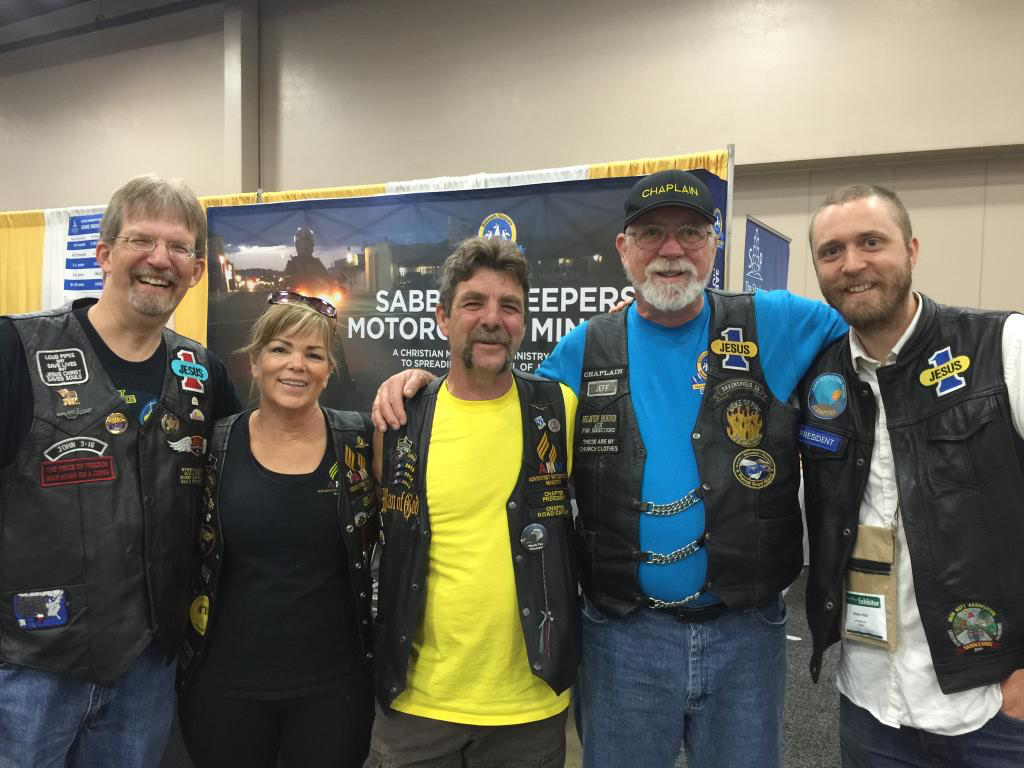 L to R: Robert, Laurie, Richard, Jeff and Shane. Laurie and Richard are members of Adventist Motorcycle Ministry.