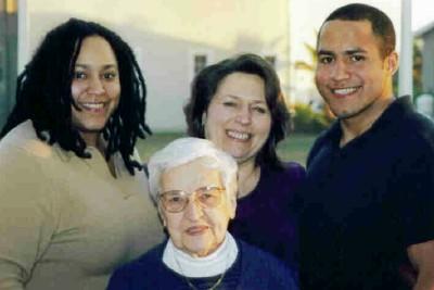 Natalie, Grandma, Mom (Marie) and brother, Javair (2001)