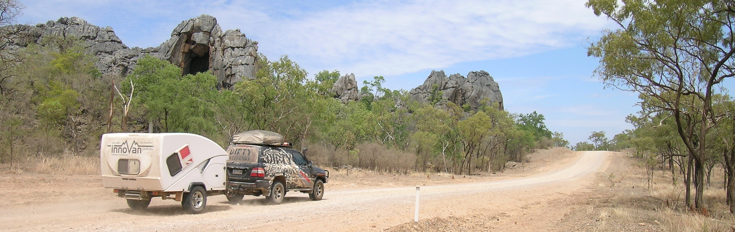 An early innovan caravan prototype on test in remote Far North Queensland