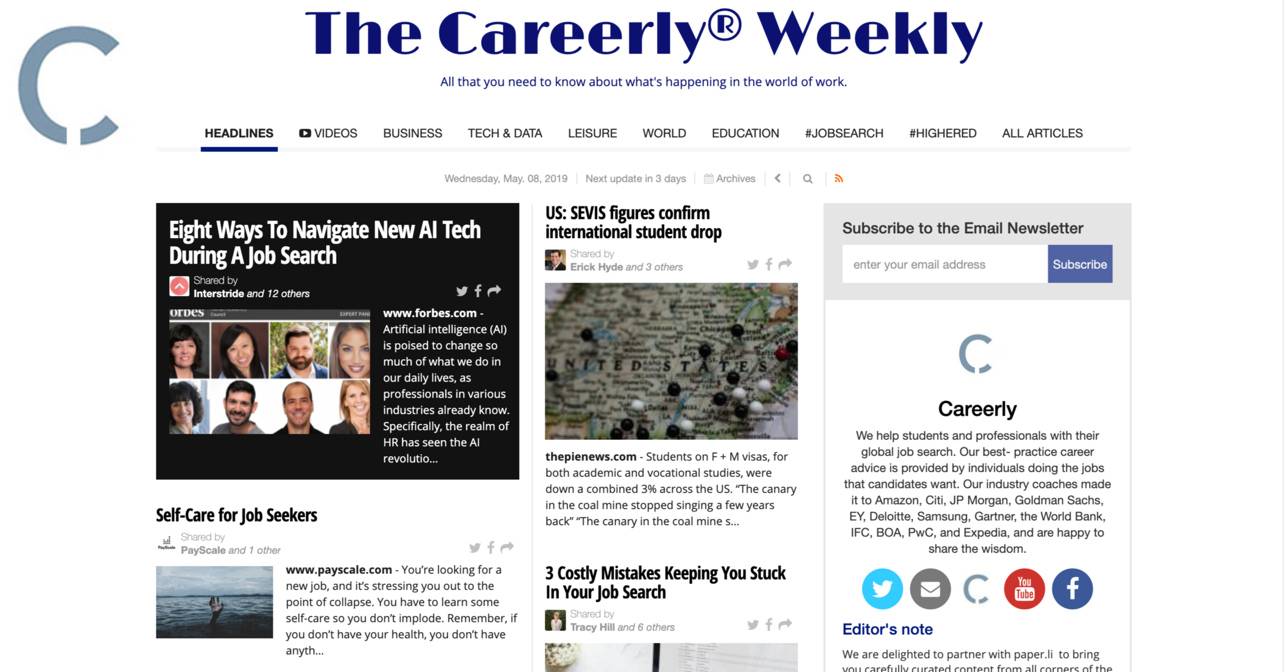 #Jobs & #careers headlines from around the world. - Every Wednesday 5.00 am EST
