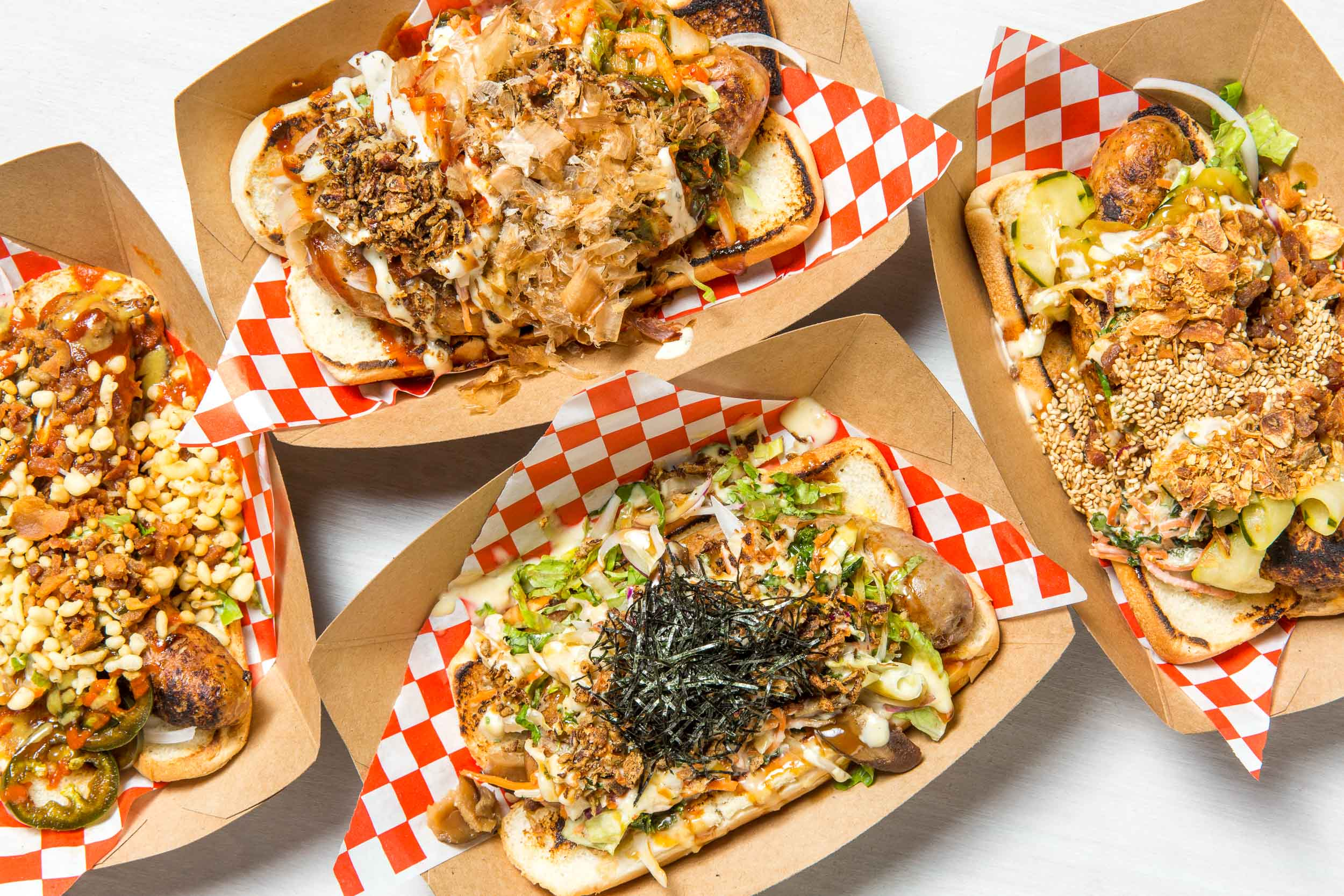 Aburaya Kamikaze Dogs, hot dogs and sausages with gourmet Japanese-inspired toppings for San Francisco Magazine