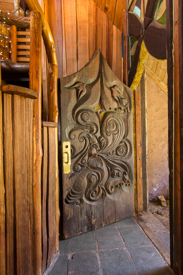 Earth House - front door/entry. Door was hand carved by Sun Ray.