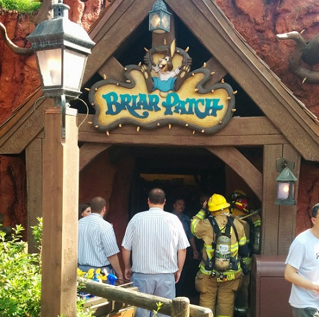 Fire fighters attending to call out at Splash Mountain...