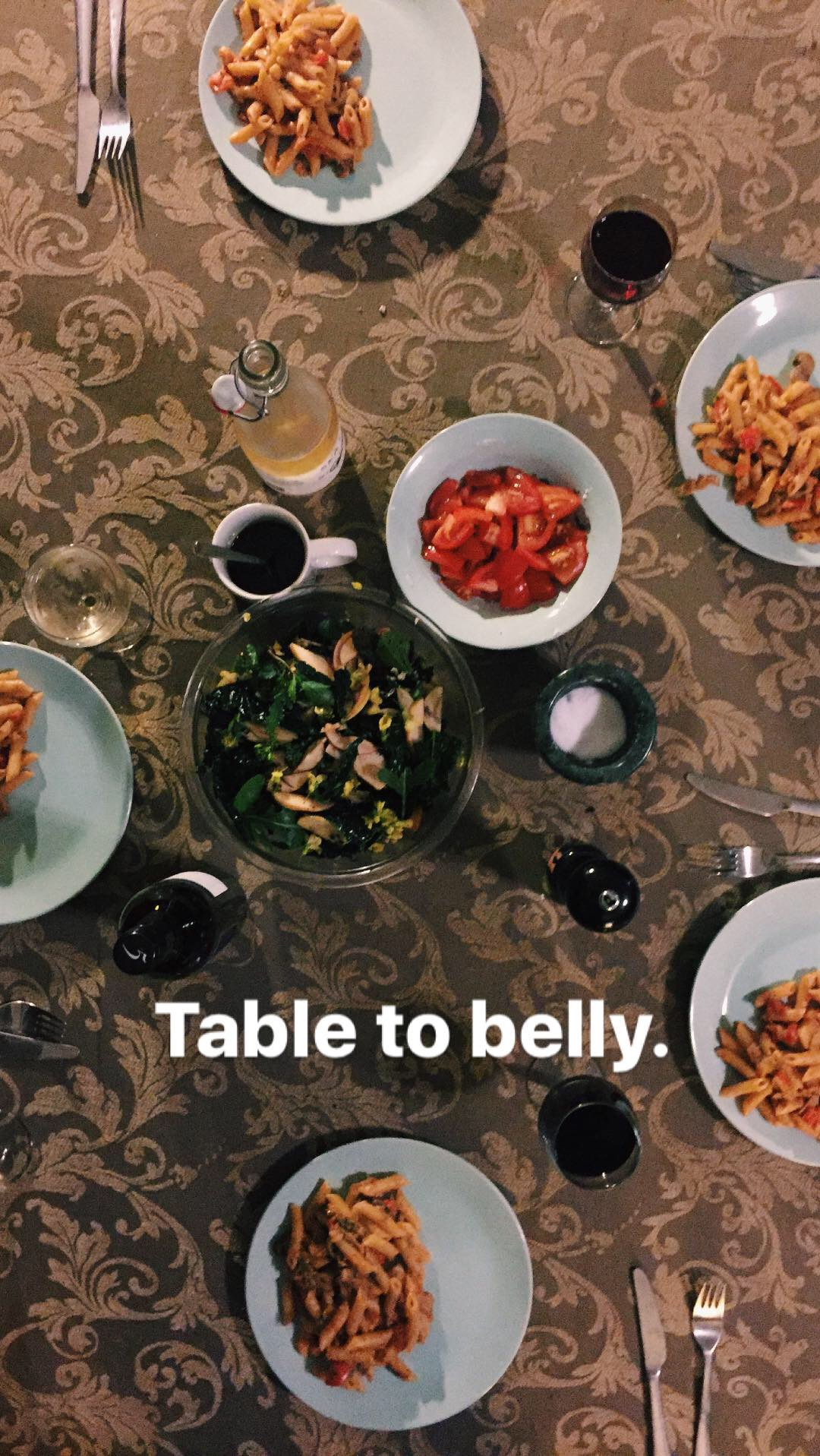table to belly