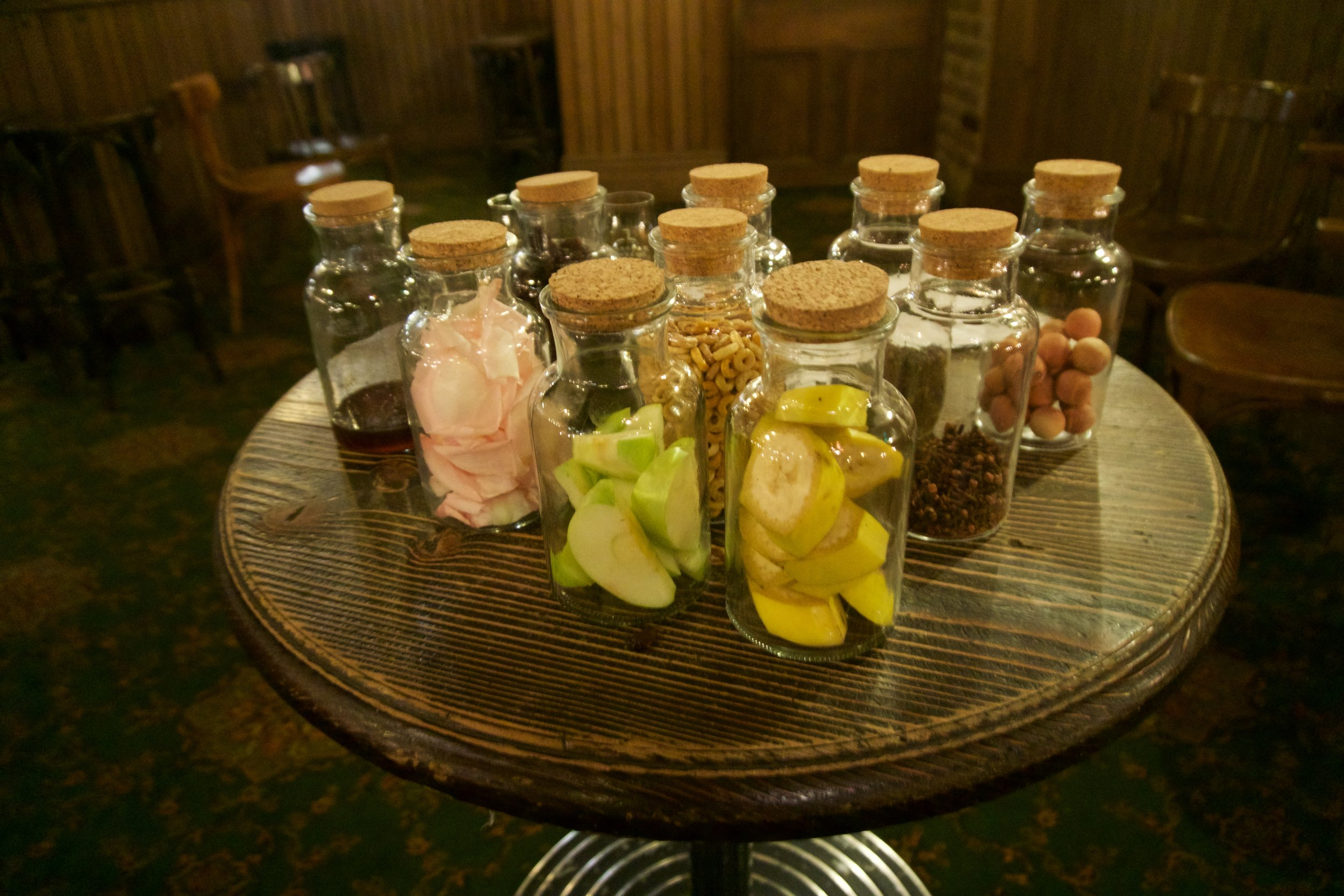 A sample of the materials used by the sensory panel to help identify different flavours in the whiskey - rose petals, cloves...even cedarwood balls.