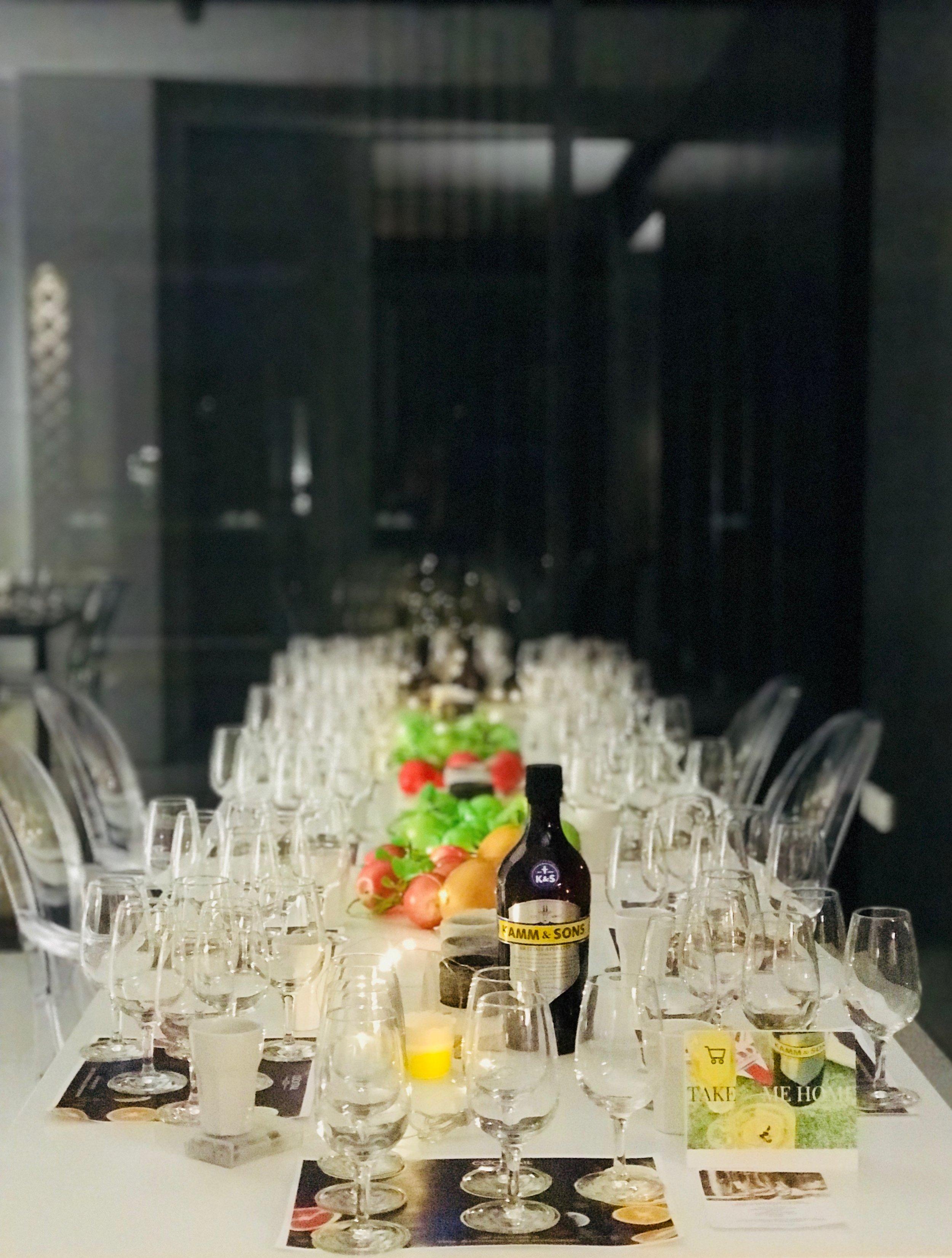 Kamm Aperitif Tasting set up