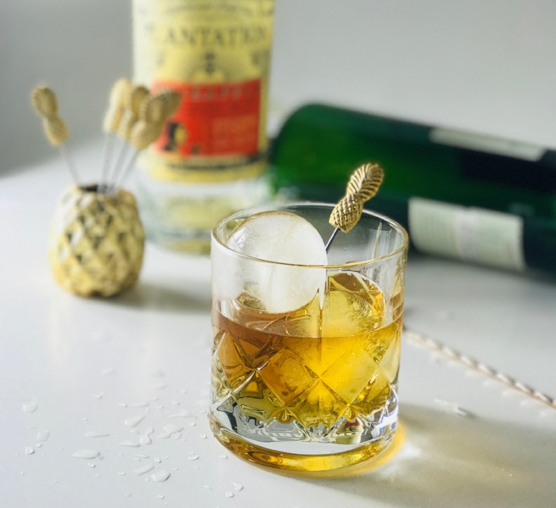 A tropical twist on the Old Fashioned whisky cocktail, with the addition of pineapple rum