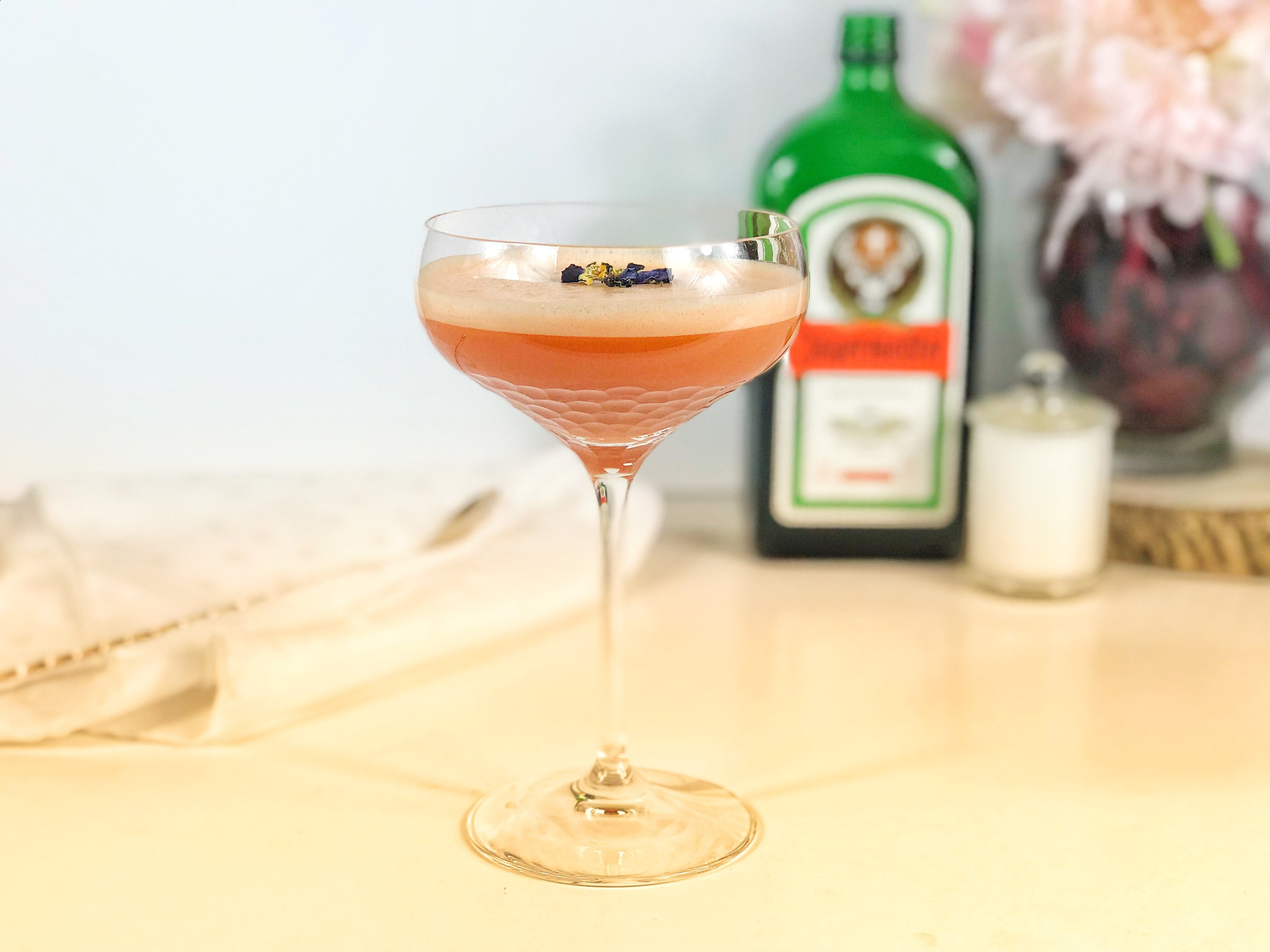 Gin and carrot juice cocktail with an added boost from Jagermeister
