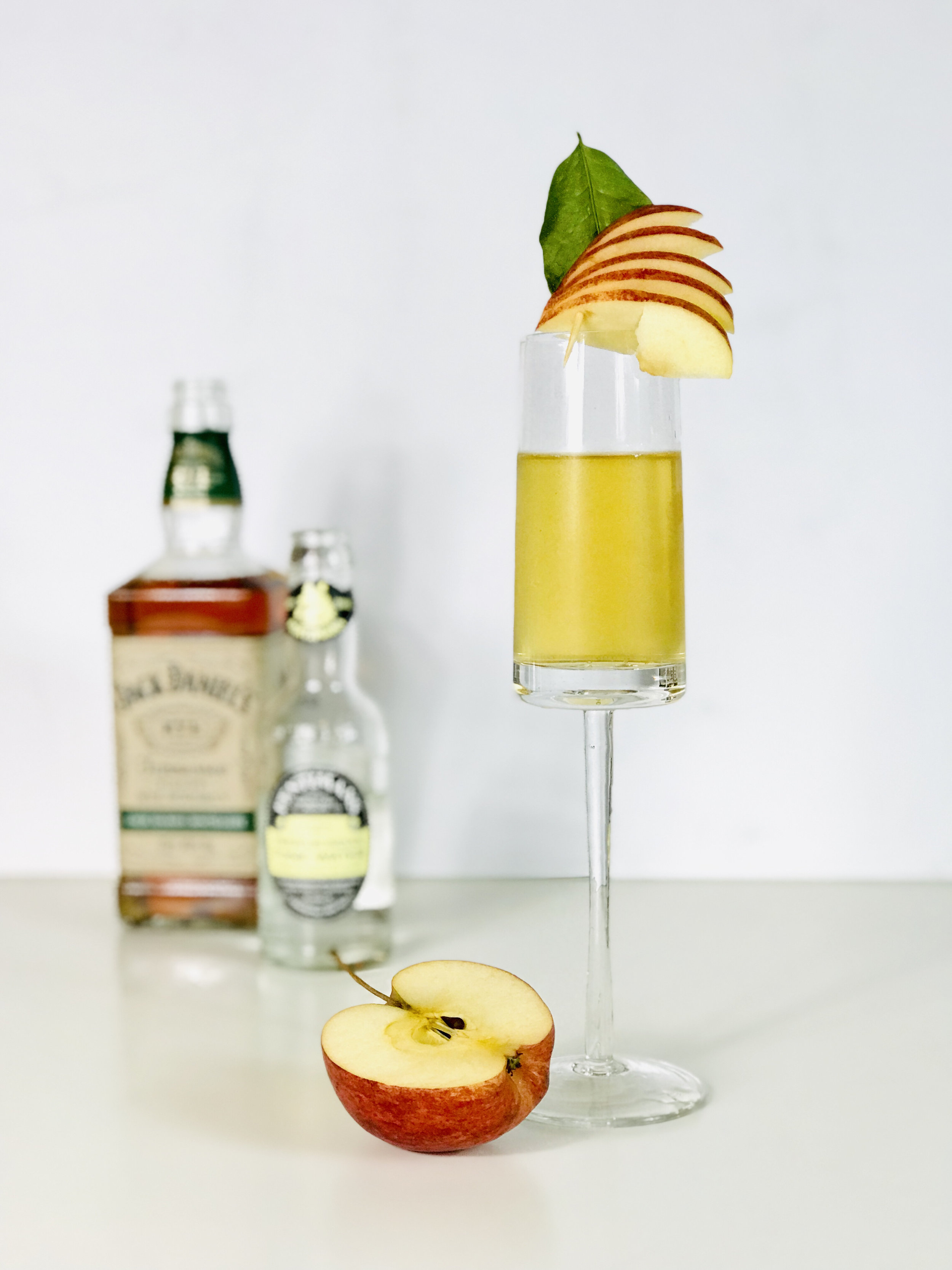 Apple Rye cocktail with Jack Daniels whiskey and Fentimans Indian tonic water.