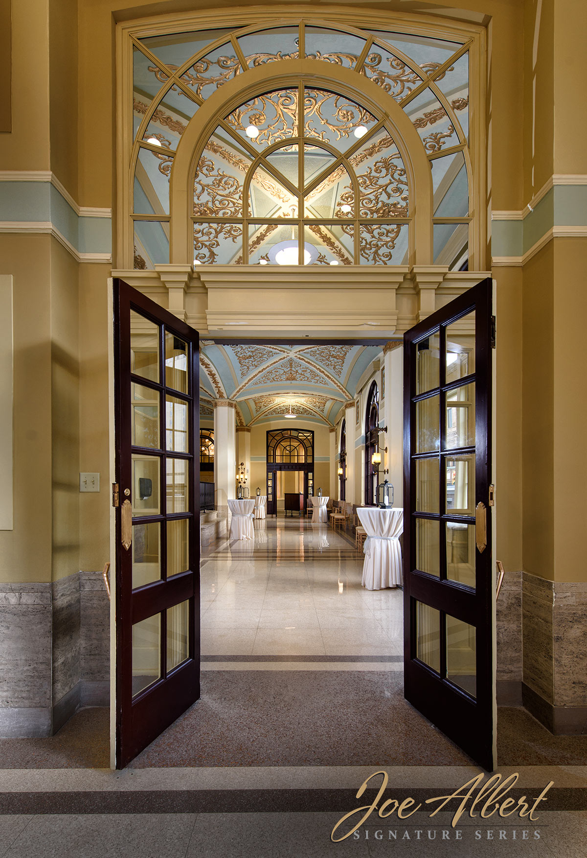 View looking through the bar doors into the lobby