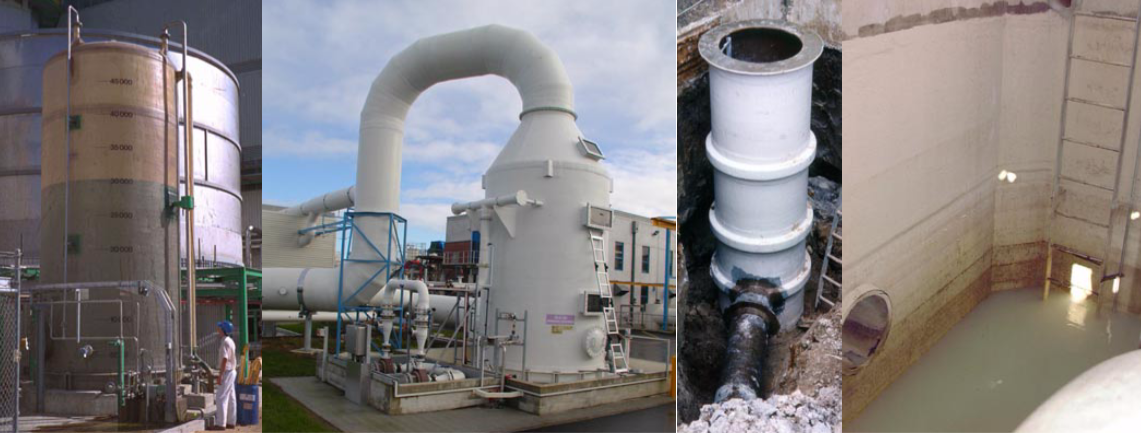 Used for corrosive chemical storage, corrosive gases and liquids in a scrubber, and for combinations of corrosive chemicals in manholes and neutralisations sumps in an effluent stream. All the above installations are by ARMATAEC