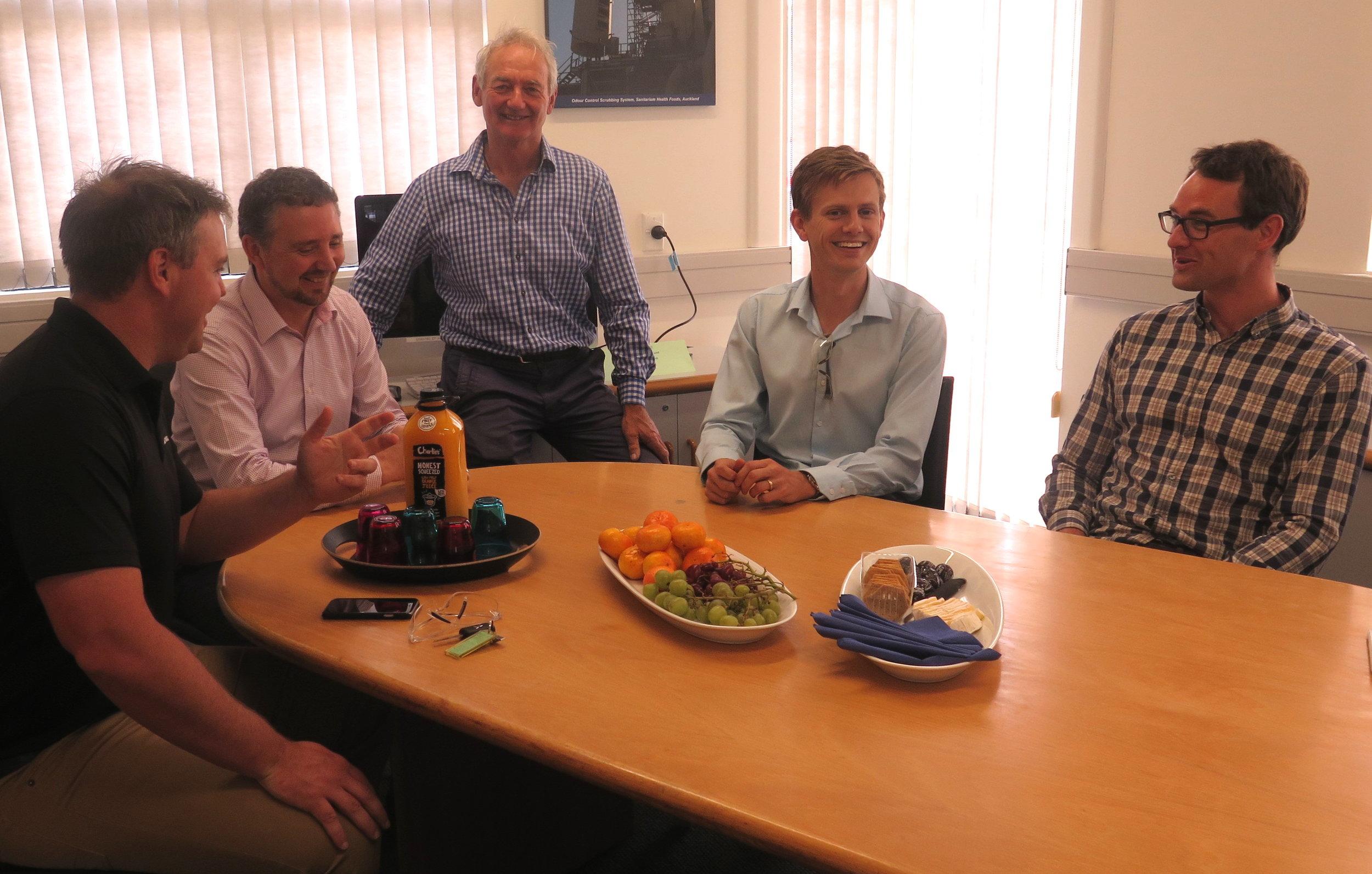 Darin, Richard and James from Akzo Nobel visit with Ken and Bryan at Armatec.