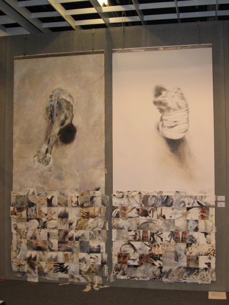 Mixed-media work on canvas and paper.