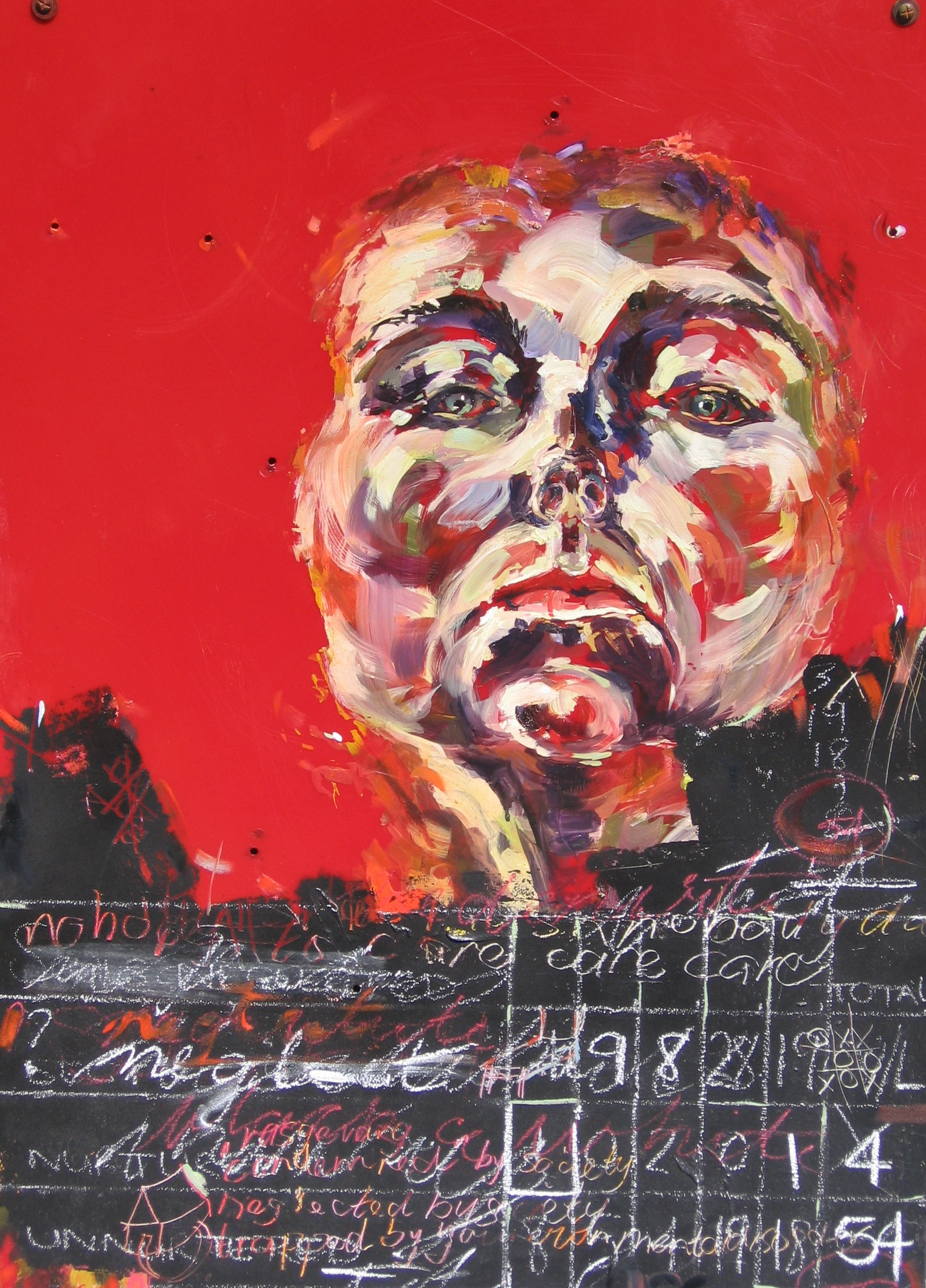 Title: NEGLECT, oil and mixed media on acrylic sheet. This work lives in Germany.