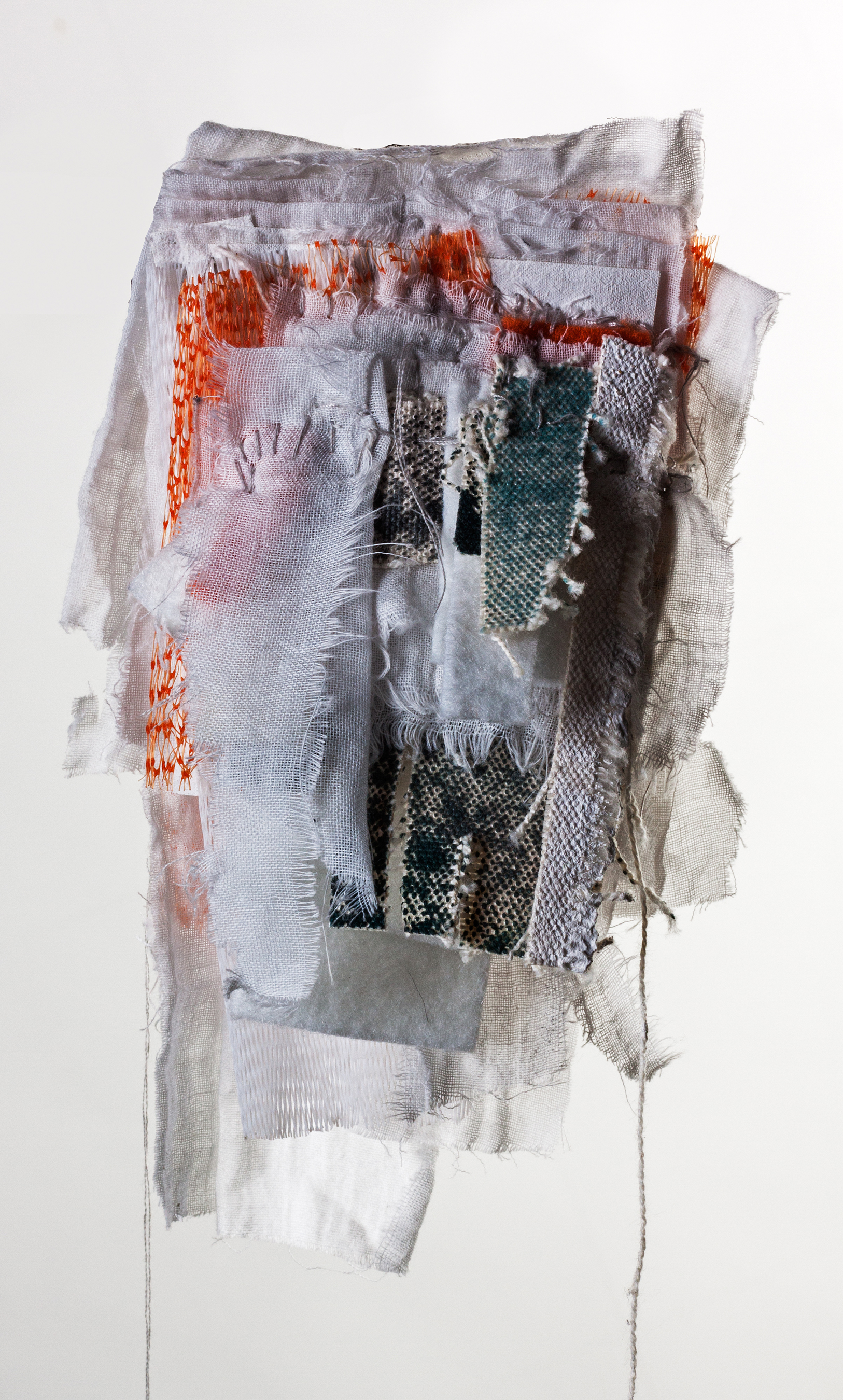 Layered Introversion 2. Plastic netting, recycled clothing, gauze, felt, cotton thread, pins. 22 x 20 cm 2017.jpg
