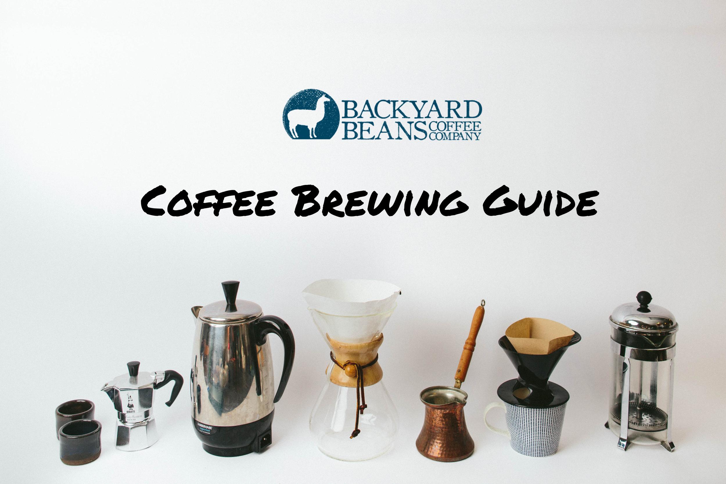 BACKYARD BEANS, COFFEE BREWING GUIDE.