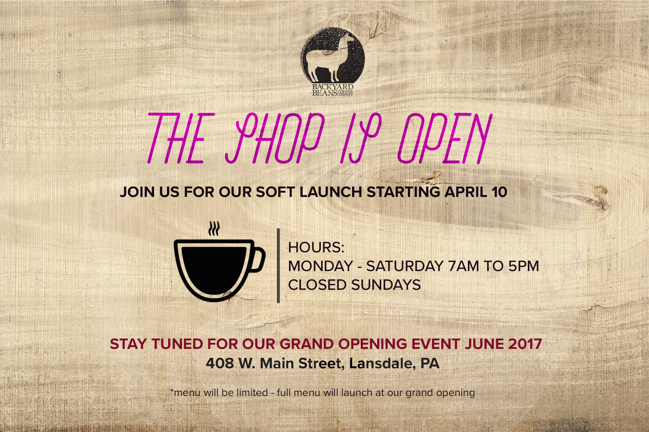 Click image for temporary store hours until we announce our Grand Opening!