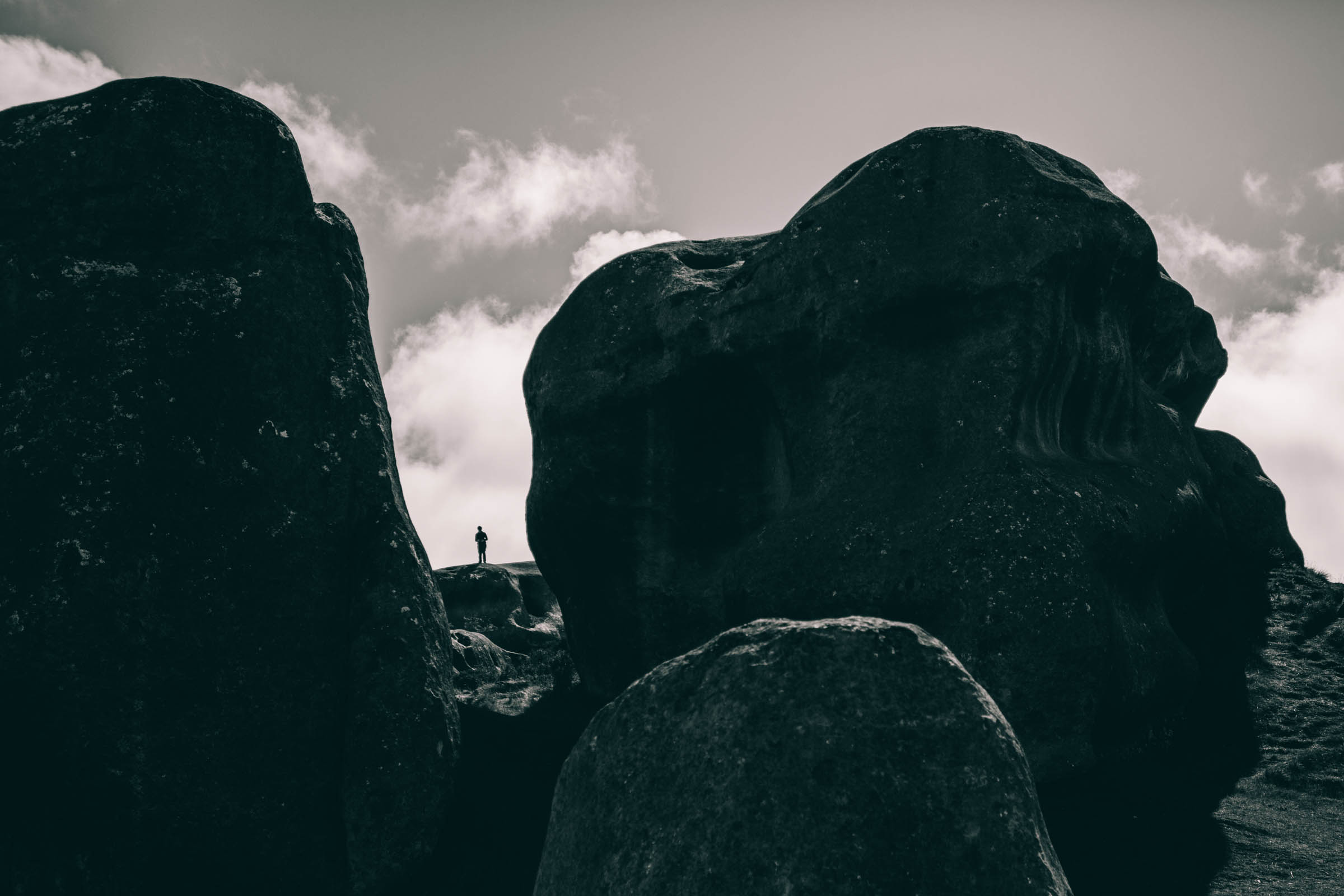 Castle Hill limestone, lecturer for scale