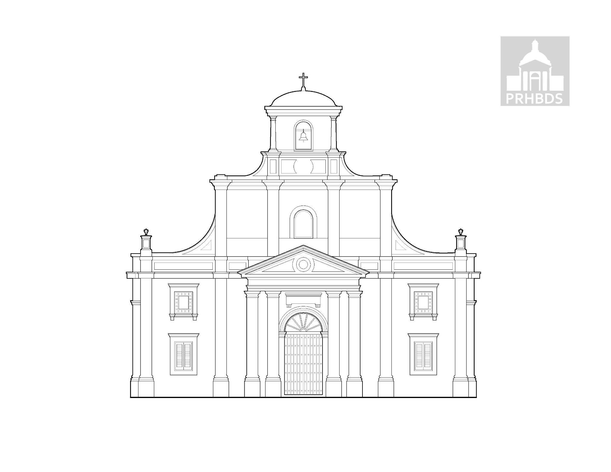 Catedral de San Felipe Apóstol (1846)   Arecibo, Puerto Rico     La Catedral de San Felipe Apóstol se encuentra localizada en la parte alta que comprende la península arenosa donde desemboca el Rió Grande de Arecibo. Según el historiador Antonio Cuesta Mendoza su construcción data el año 1616; sin embargo su actual aspecto es del 1846. En el 1960 se designó catedral al crearse la Diócesis de Arecibo y el 25 de noviembre de 1960 tomó posesión su primer Obispo, Monseñor Alfredo S. Méndez.  Su estilo arquitectónico es basado en elementos bizantinos. Esta rodeada por un ancho atrio y su piso interior es de lozas de mármol negra y blanca. Es la segunda iglesia en tamaño construida en Puerto Rico por los españoles, la primera en tamaño es la Catedral de San Juan Bautista en San Juan. Su fachada tiene un balance triangular simétrico. Una espadaña (campanario de una sola pared, en la que están abiertos los huecos para colocar las campanas) en la parte posterior de la misma hace suponer que el campanario- presente en su fachada- no existía en los comienzos. Las ventanas rectangulares, de estilo renacentista (poco común en la arquitectura religiosa de Puerto Rico), se repiten alrededor de todo el edificio de forma única.  En el interior tiene un ábside semicircular con una cúpula de un cuarto de esfera, perforada en tres puntos por claraboyas semicirculares. En la parte posterior del ábside que da acceso a la sacristía, hay una escalera que conduce a los aposentos en la segunda planta. Esta complejidad de elementos y diseños arquitectónicos es solamente sobrepasada por la catedral de San Juan (Marvel & Moreno, 1994).