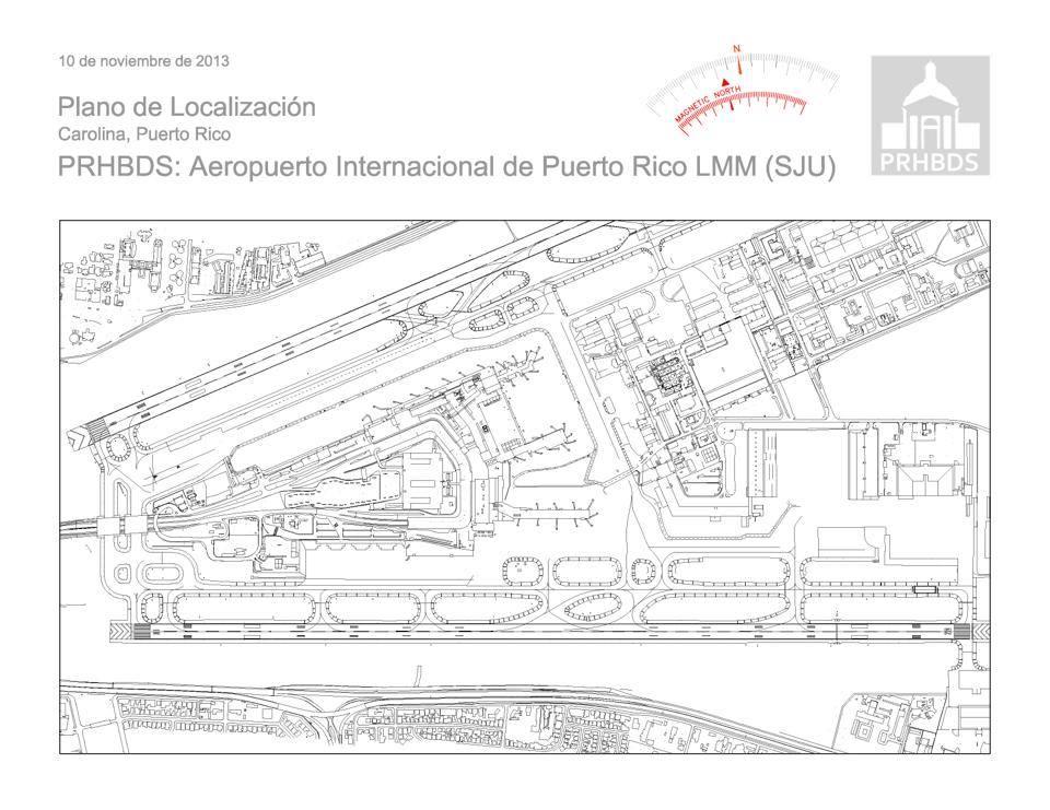 Aeropuerto Internacional de Puerto Rico LMM (SJU)   Carolina, Puerto Rico   Plano de Localización
