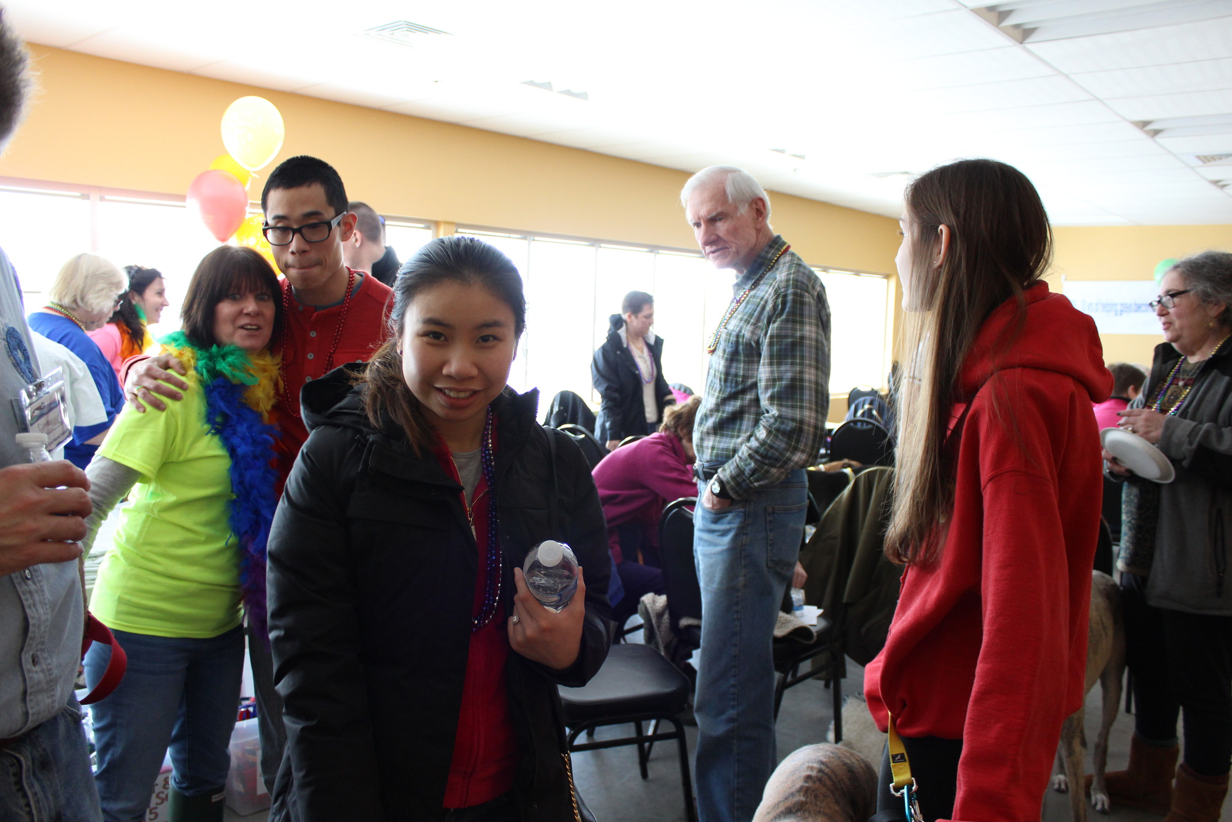 Wendy greeting some future adoptees who dropped in to visit!