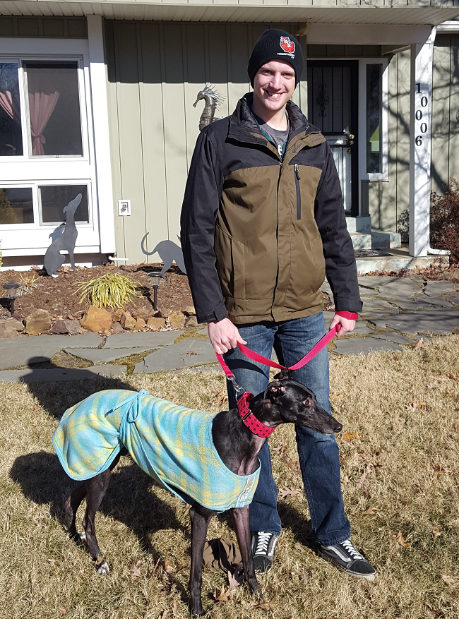 """Today was a very special day for Ian! He got to adopt a special girl, Who's your Daddy, now called Ruby. Ruby was already here in VA and was being fostered locally. We were asked if we had someone who would love this energetic and sweet girl. We did! We met her and immediately knew that Ian was just the right """"Daddy"""" for her!  Ian looks forward to training her and hopefully teach her agility! They will be traveling buddies when he moves to CA in the spring. Congratulations to Ian and Ruby!"""