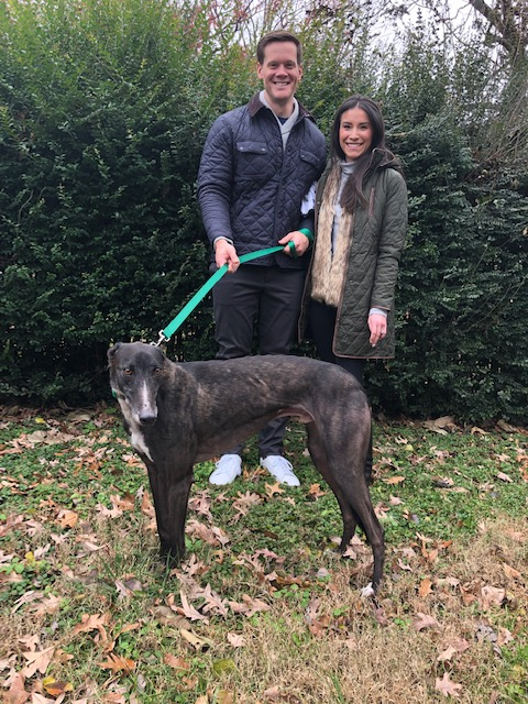 Congratulations to Ben and Lauren. Shotgun Rider (Rider) is a gorgeous black brindle boy who is very affectionate. He passed out lots of hugs on the way to the adoption site. Ben and Lauren were so excited to take him home and introduce him to all his new dog beds and neighborhood paths in their area.