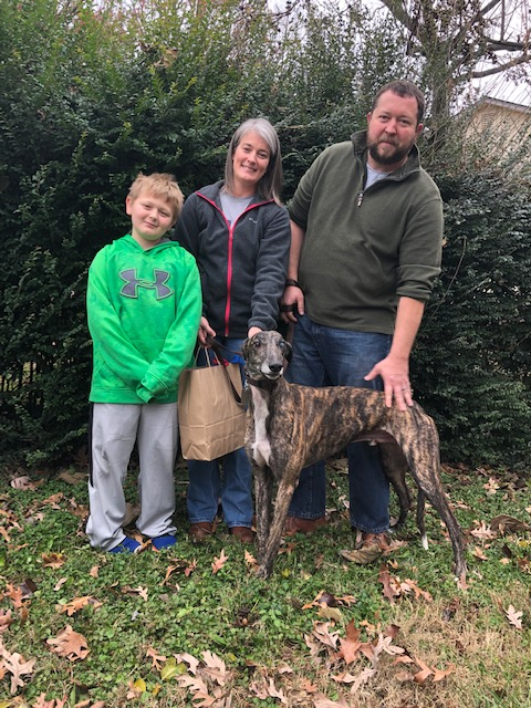 Shawna and Jeff came up from Charlottesville to meet their very chill boy, Turbo Hayes (Hayes). Hayes will be enjoying retirement with the family and their cat! Congrats to Hayes and family!