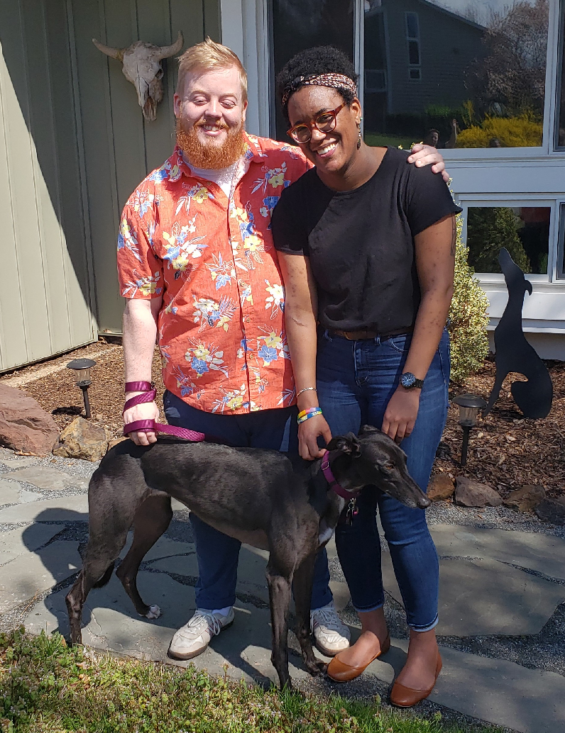 CONGRATULATIONS to David and Kelsey for their new Greyhound Wednesday!  Wednesday is a sweet petite black female who is very curious. When she met her family it was love at first sight. Wednesday loves leaning on you for lots of pets and is enjoying walks all around the area!  David and Kelsey were so excited to show her their Charlottesville home! Please welcome David, Kelsey, and Wednesday to the BRGA Pack!