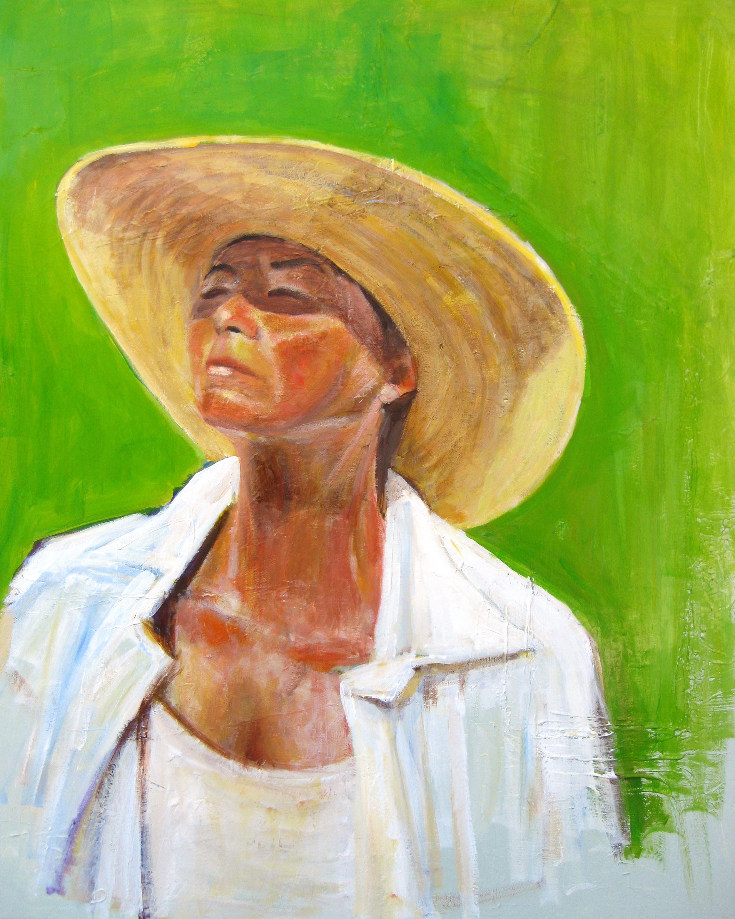 white shirt straw hat