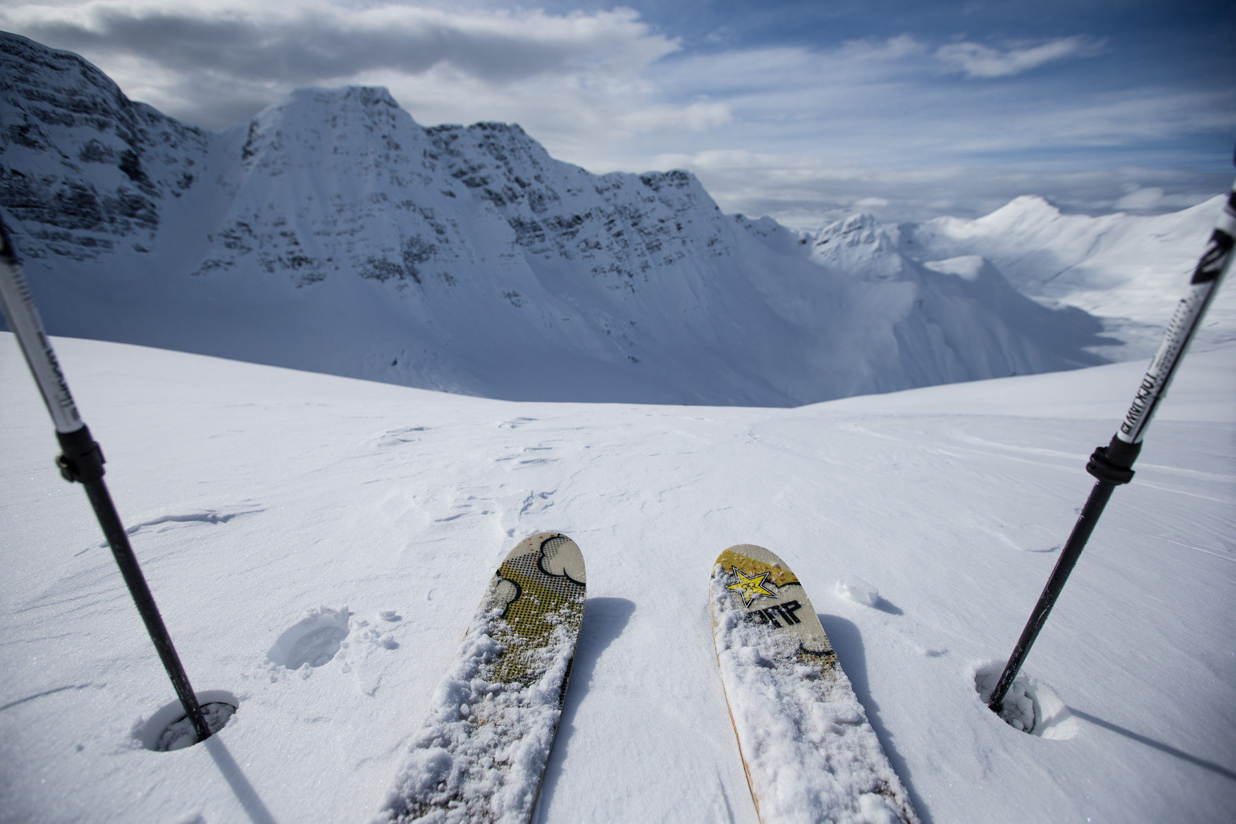 Ashley Barker Photography British Columbia Snow Point of View Skis Powder Skyline Mountain Clouds Poles
