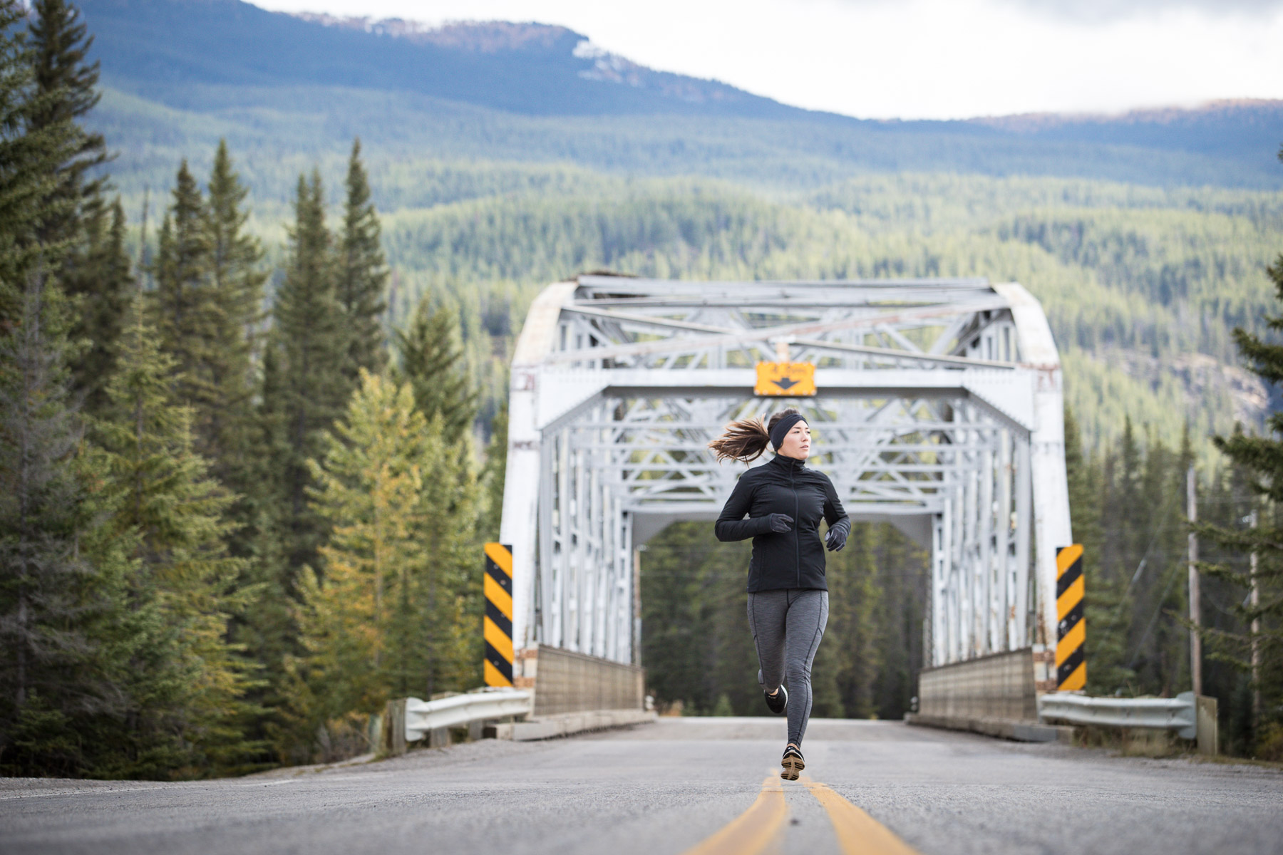 Ashley Barker LuluLemon Banff Bridge Photography Running Evergreens Road Canmore