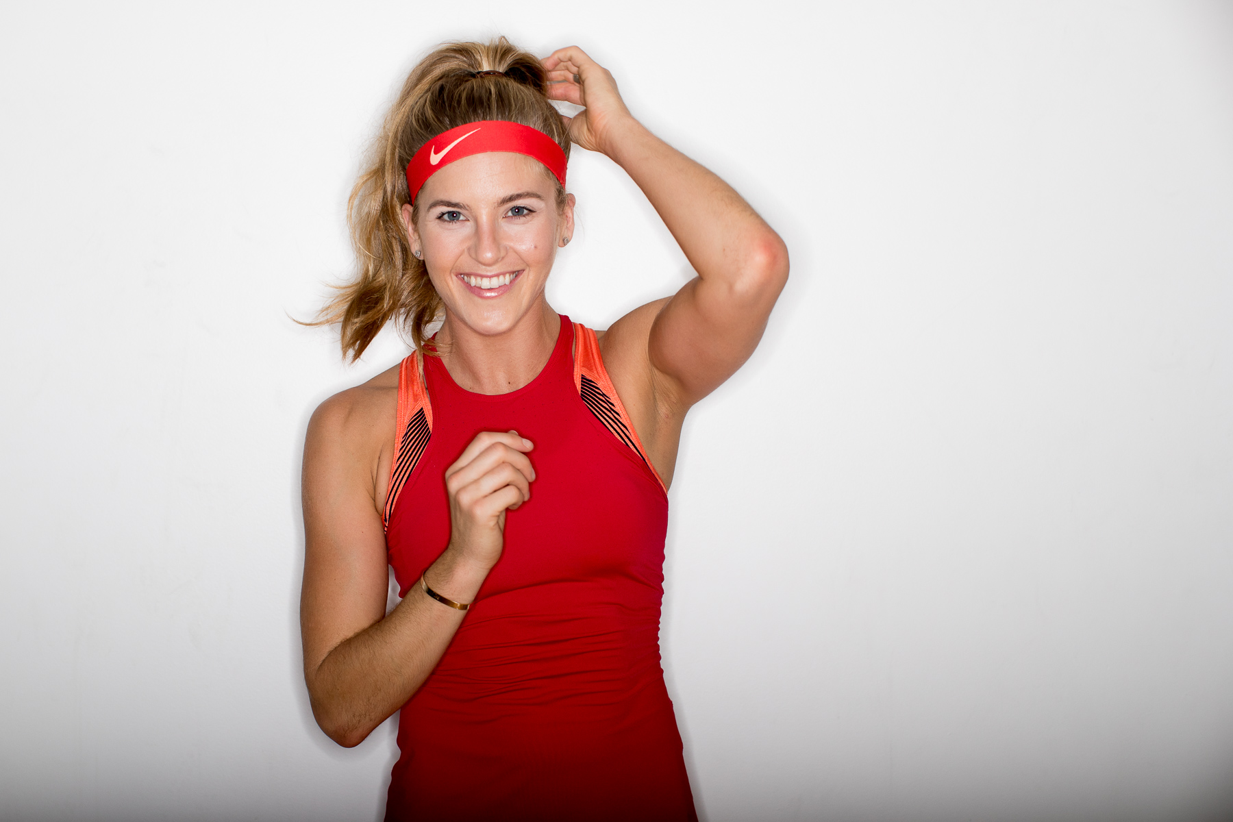 Ashley Barker Photographer Ring Flash Nike Blonde Smiling Tank Top Trainer Model Red