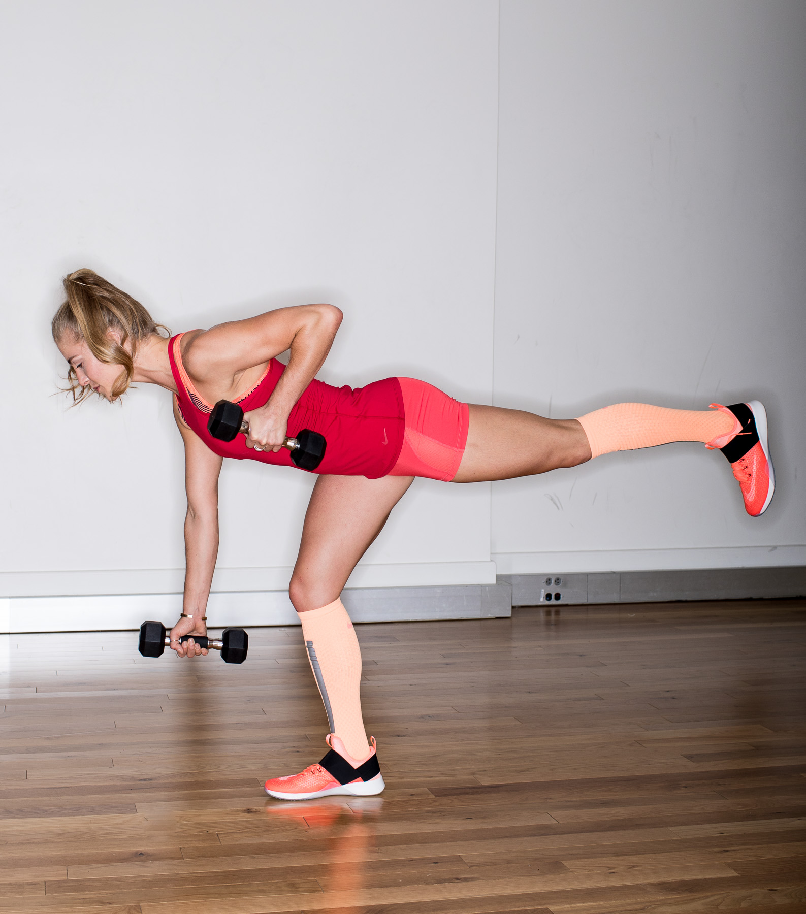 Ashley Barker Photographer Ring Flash Nike Weights Deadlift Single Leg Hardwood Red Peach