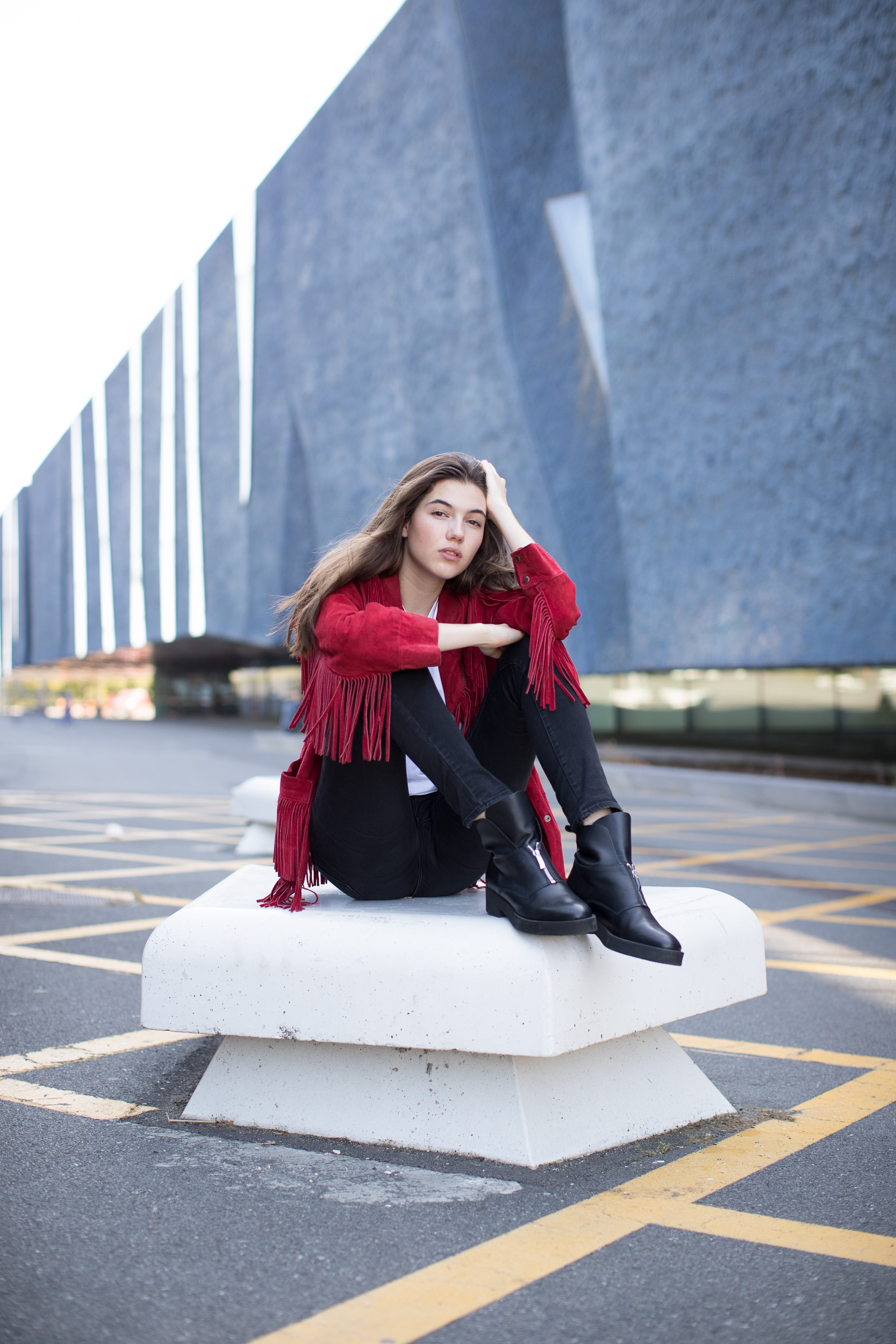 Maria model elite teen red jacket commercial photographer beautiful blue wall beauty inspiration fashion