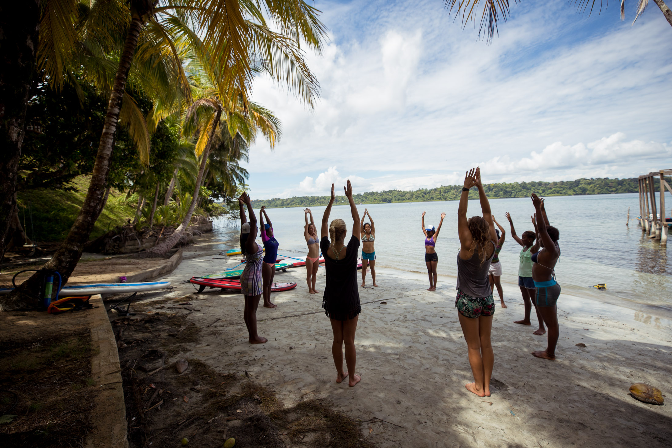 Anna guided the crew through some Yoga moves before our SUP adventures.
