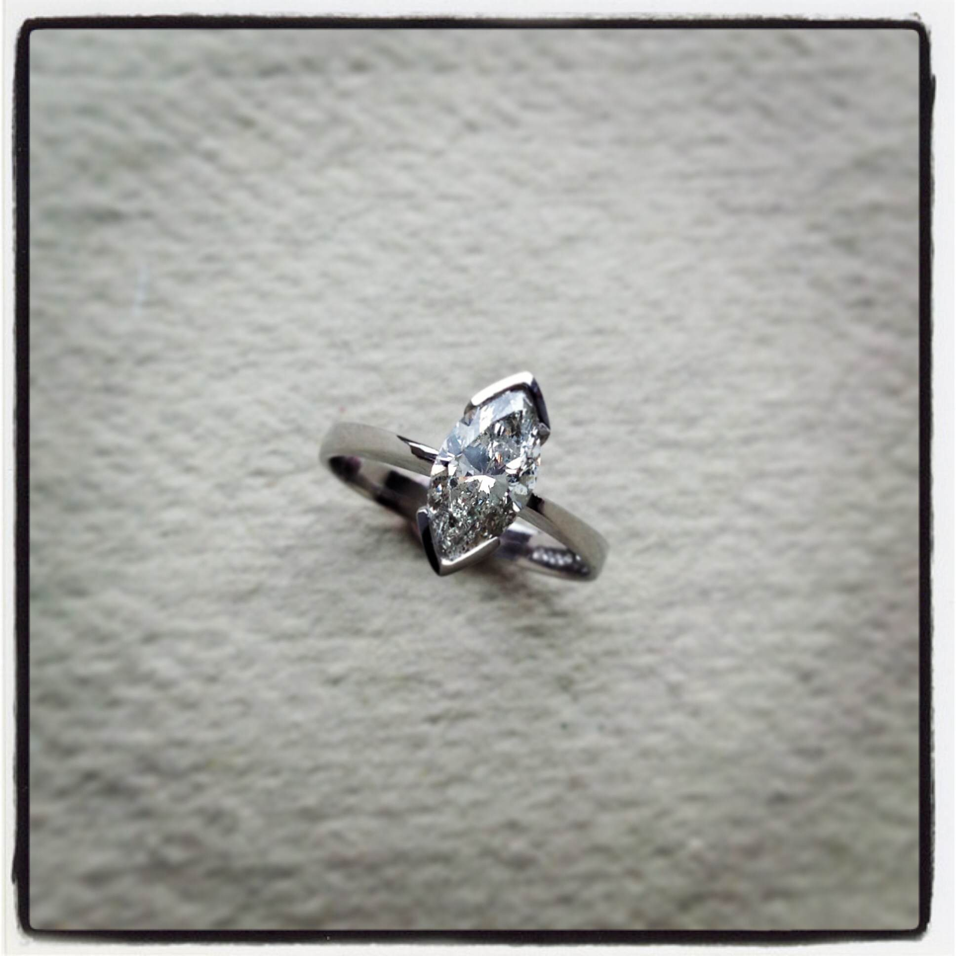 1 carat marquise diamond & platinum ring
