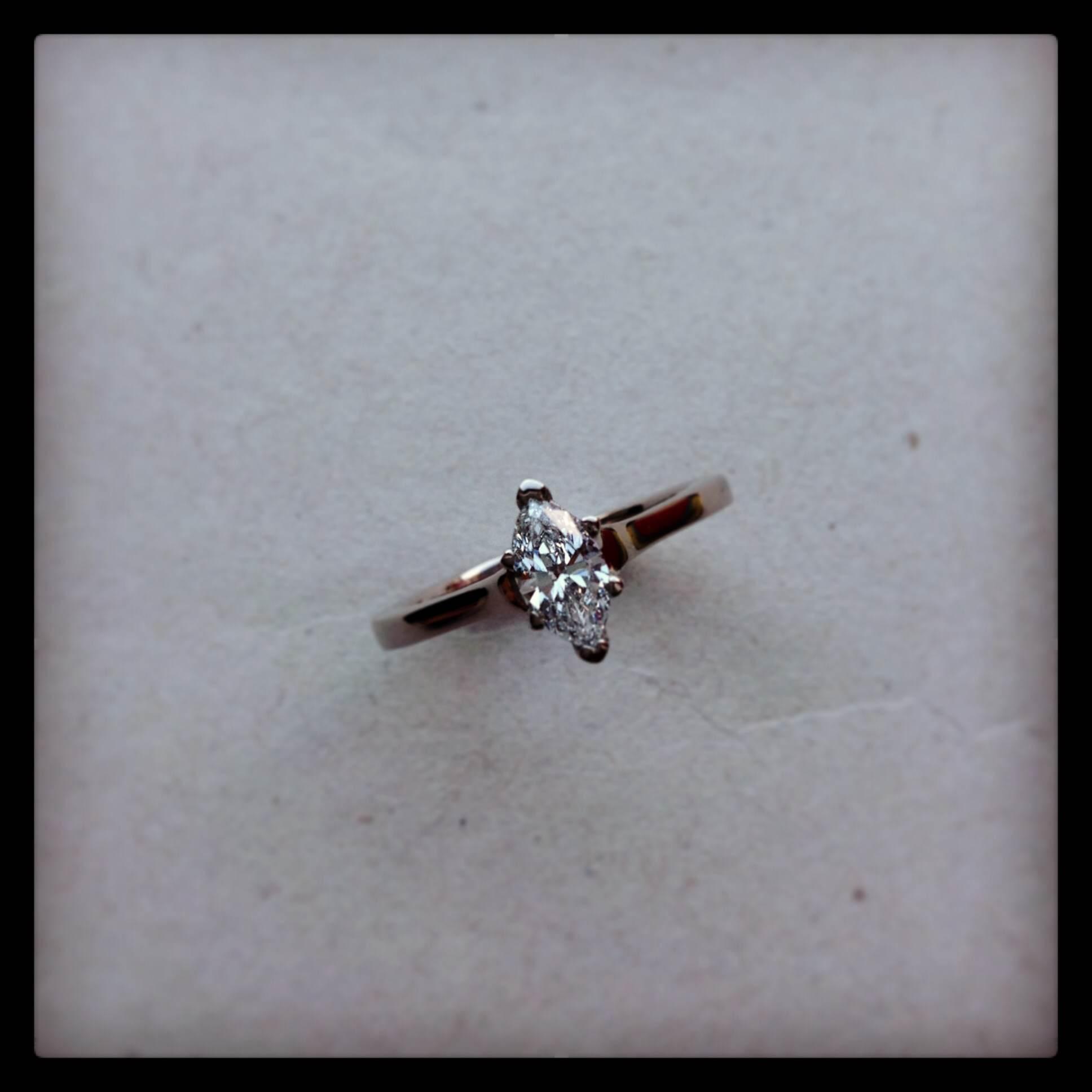 Gold marquise diamond ring