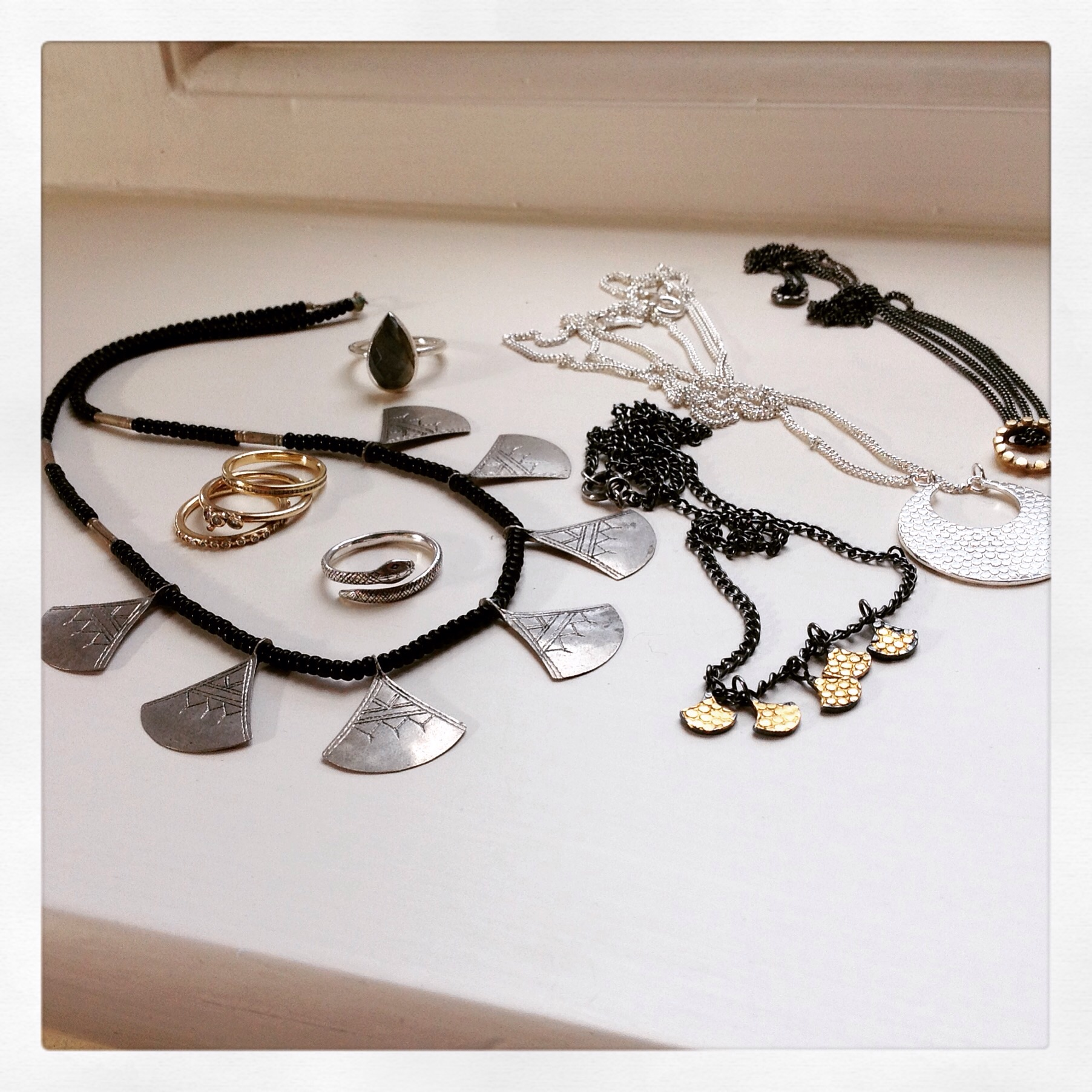 A jewellers' jewellery collection.