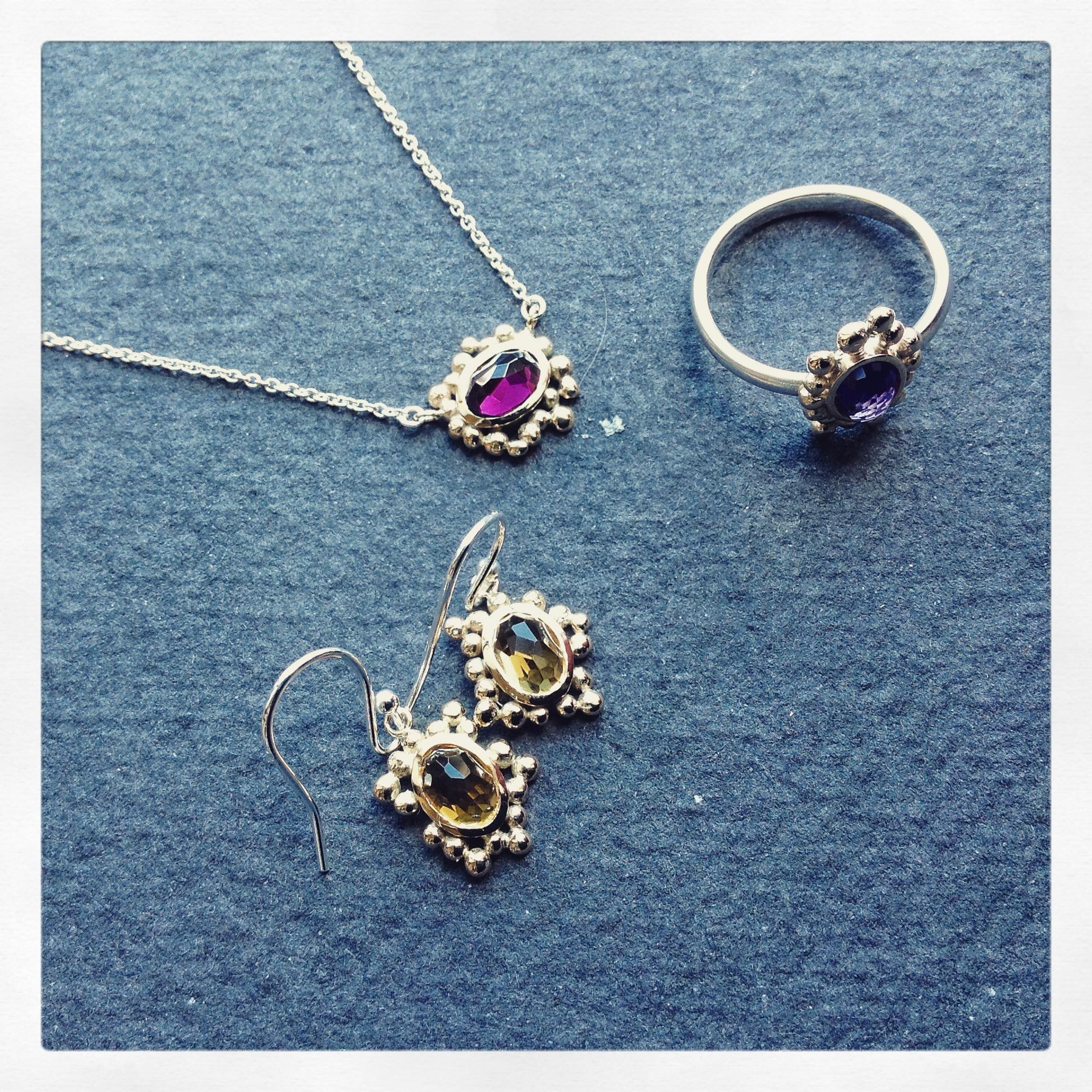 Rose cut gold jewellery set