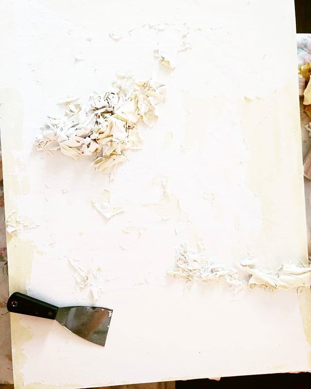 ":::: Unintentional DIY materials study.  Gesso on acrylic on gesso on h2o on gouache :::: . . . . . I love ""messing up"". It's really never a mistake in the studio, it's just learning. Learning more about how materials work together and how they don't. This studio moment created a new piece, entirely. A piece I didn't see coming but am very excited about."