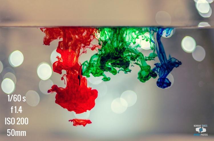 Photo Breakdown : Food Coloring in Water with Bokeh Lights — Konrad ...