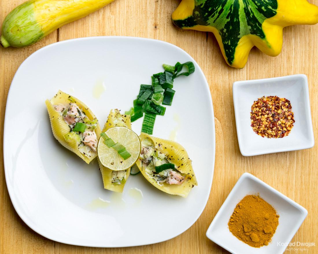 Salmon & Leek Stuffed Shells - Food photography