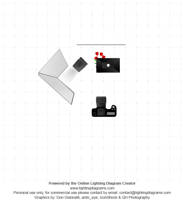 Lighting Diagram - SB-700 to the left positioned away from the product towards white foam boards that reflect light back onto the product (1/128 power); SB-900 inside a softbox directly above the product (1/2 power)