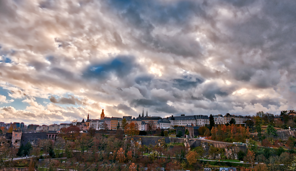 Luxembourg City on a cloudy November evening